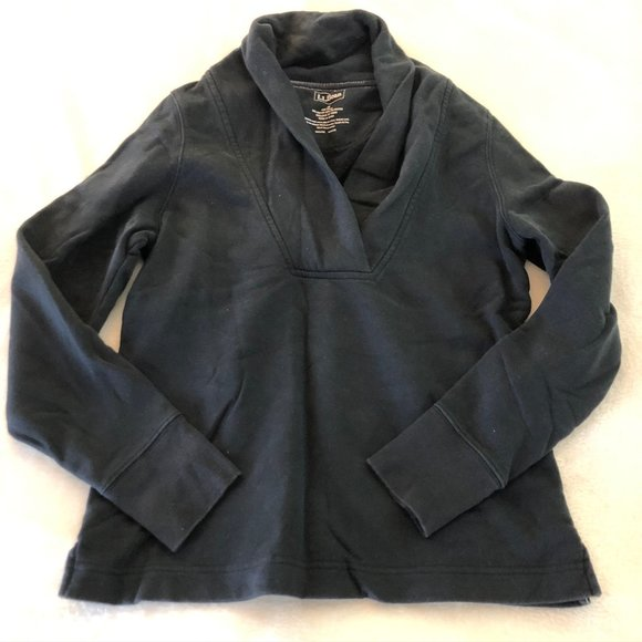 LL Bean Cowl Neck Pullover Black Sweatshirt - S